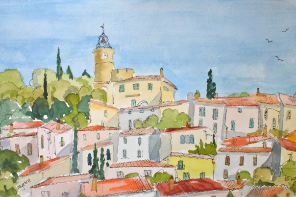 Eglise Saint Jean Baptiste rises over Fayence in Provence