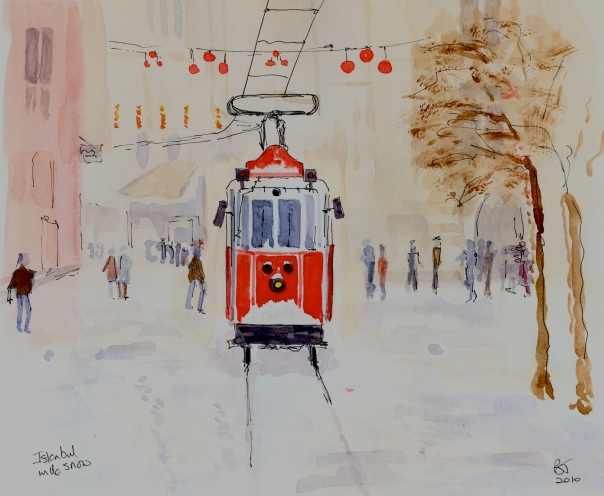 Tram in IstanbulI saw this photo in Istanbul and thought it would make nice painting.