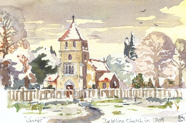 Detling Church in KentAs it may have looked in 1809.