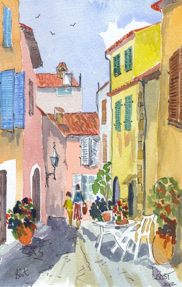A little street in Biot. Biot is famous for its Glass making.