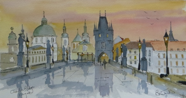 Evening on the Charles Bridge in Prague
