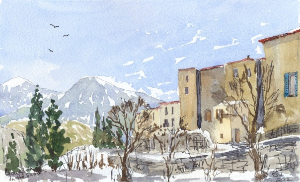 Gourdon in provence in the snow
