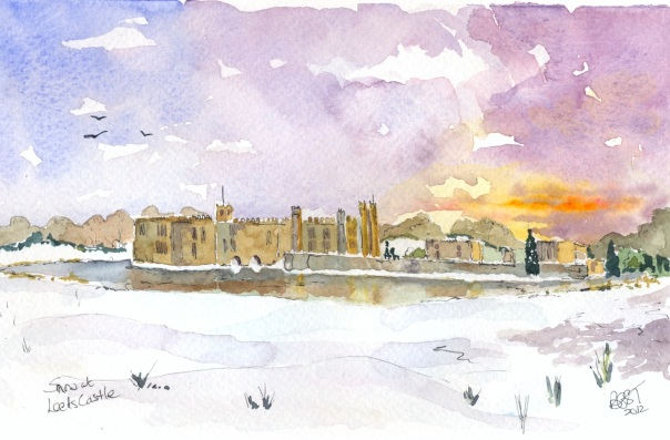 Snow at Leeds Castle in Kent