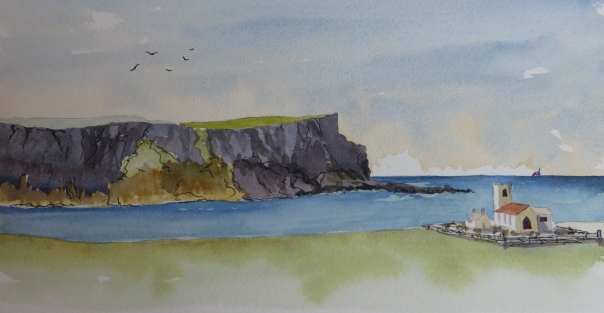 The Church and Cliffs at Ballintoy. Co Antrim