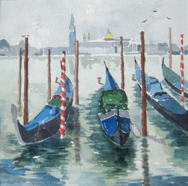 Gondolas in Venice. Painted on a previous visit
