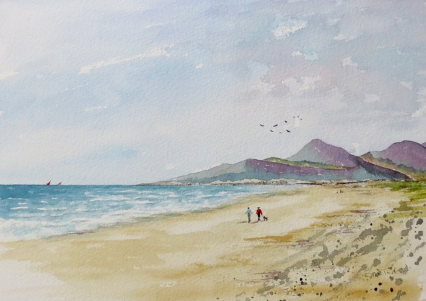 The Mourne Mountains from Murlough bay. Watercolour 14 inches by 12