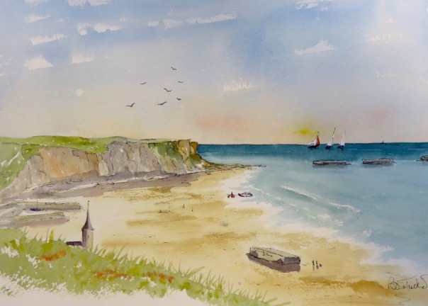 The Beach at Arromanches Watercolour 14 inches by 12