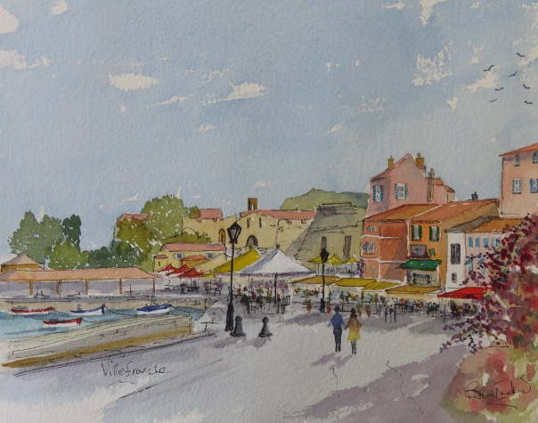 The Quai at Villefranche. Watercolour 14 by 10.