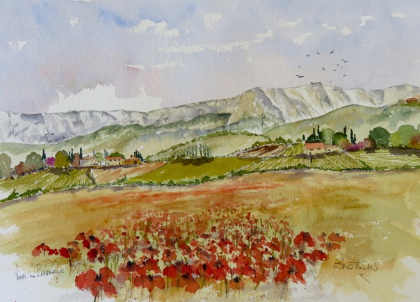 Vines and Poppies in haut Provence. Watercolour 14 by 10 inches