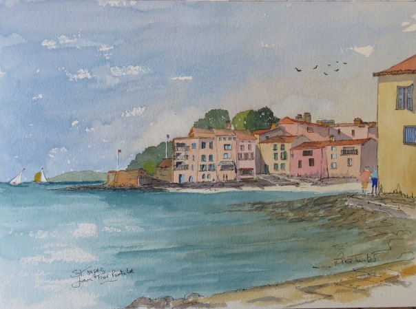 The view from the Tour Portalet at St Tropez. Watercolour 14 by 10 inches
