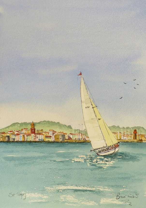 A Yacht approaching St Tropez. Watercolour 14 inches by 10.