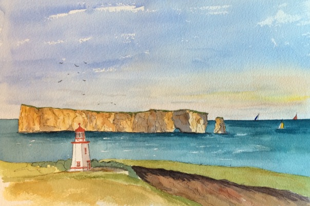 Pierce Rock. Watercolour 14 inches by 10.