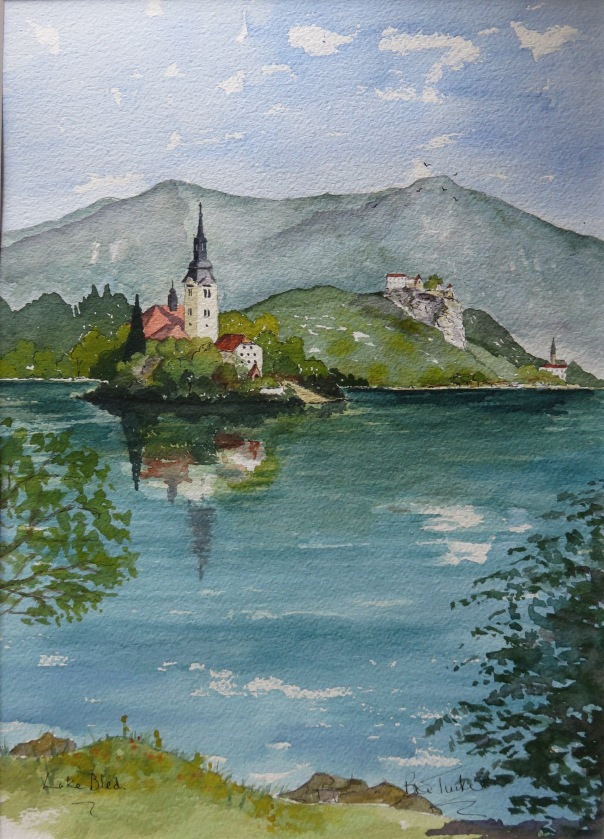Lake Bled. Watercolour 14 inches by 10.