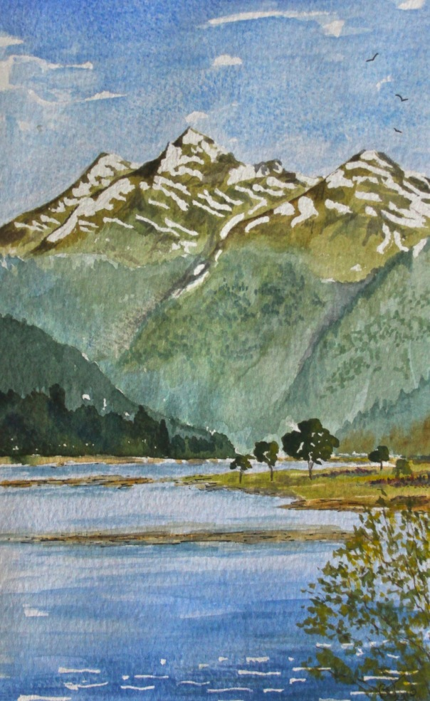 Haast Highway in New Zealand. Watercolour.