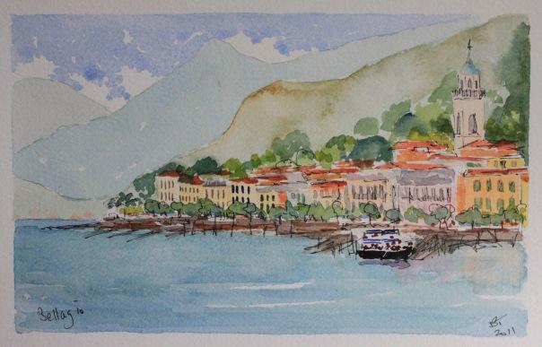 Bellagio on Lake Como. Watercolour.