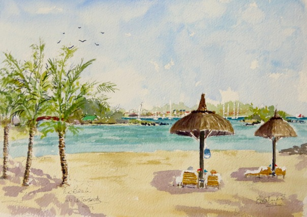 The Beach at Le Touessrok Watercolour 14 inches by 10.