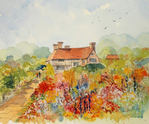 The Garden At Great Dixter In East Sussex Watercolour 12 Inches By 9